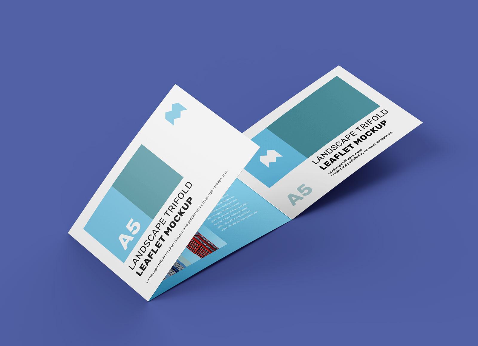 Free A5 Tri-Fold Brochure Mockup PSD (3)
