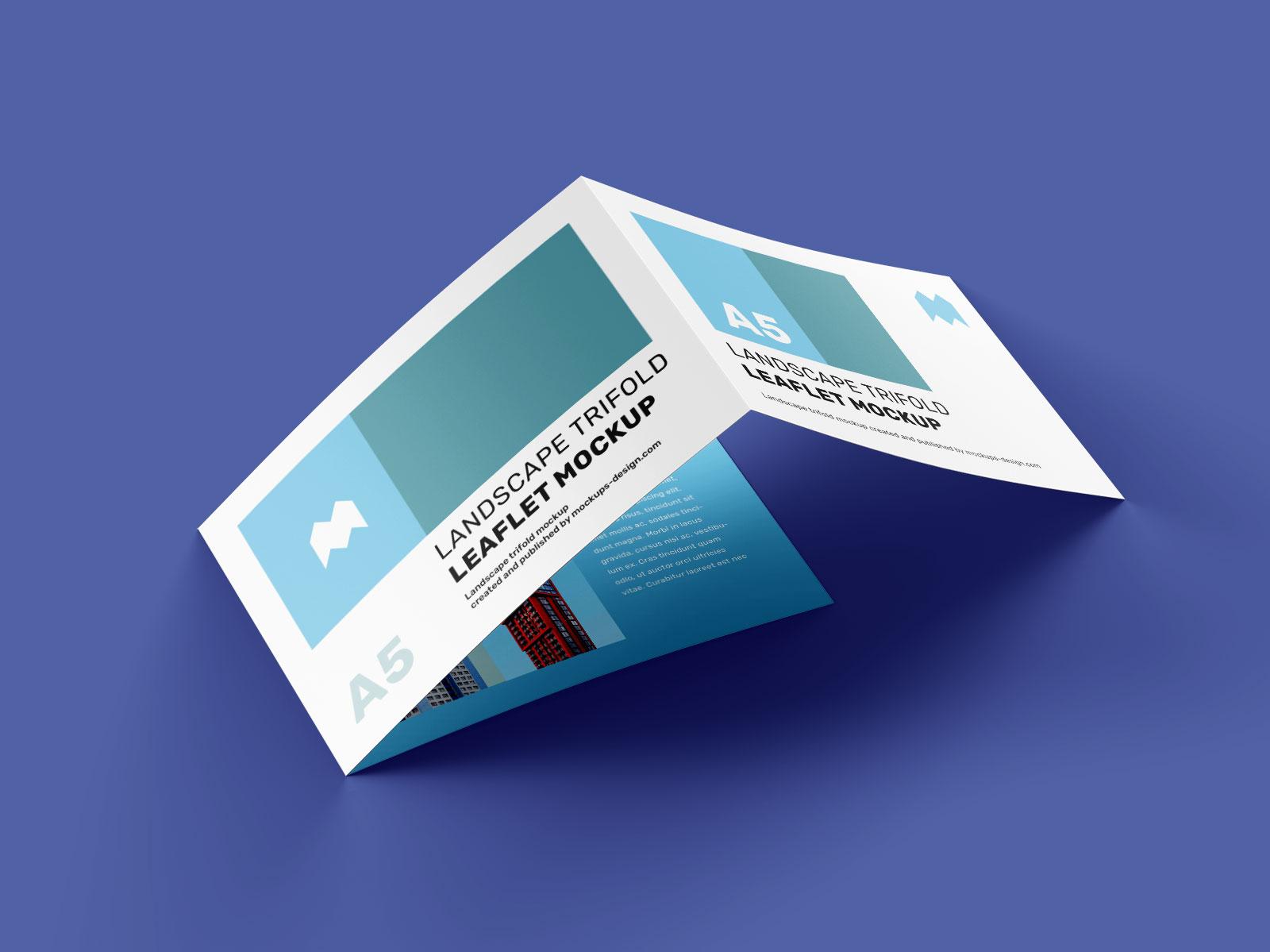 Free A5 Tri-Fold Brochure Mockup PSD (5)
