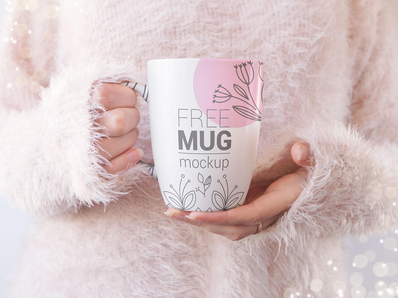 Free Hand Holding Mug Mockup PSD Set (1)