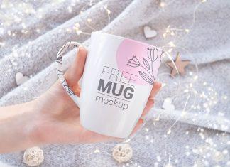 Free Hand Holding Mug Mockup PSD Set (2)