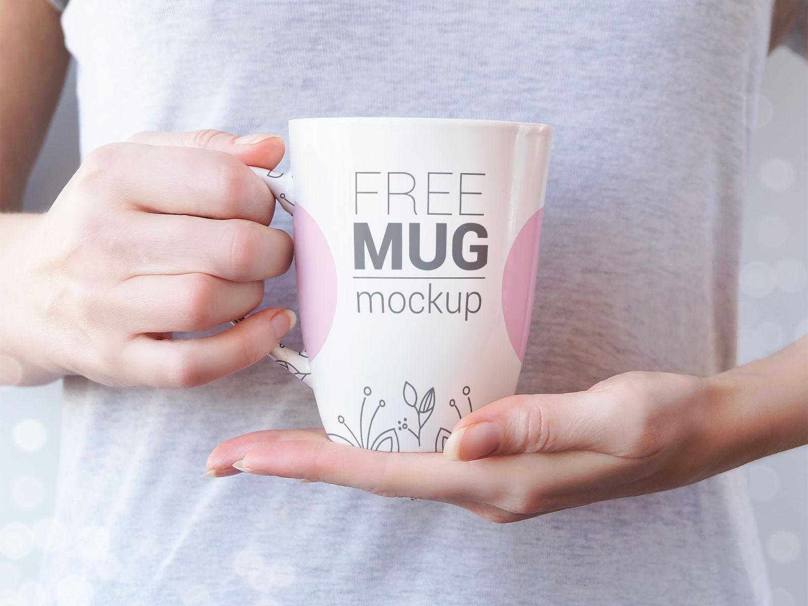 Free Hand Holding Mug Mockup PSD Set (3)