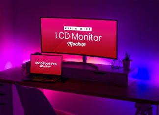 Free-Ultra-Wide-Screen-LCD-&-MacBook-Pro-Mockup-PSD