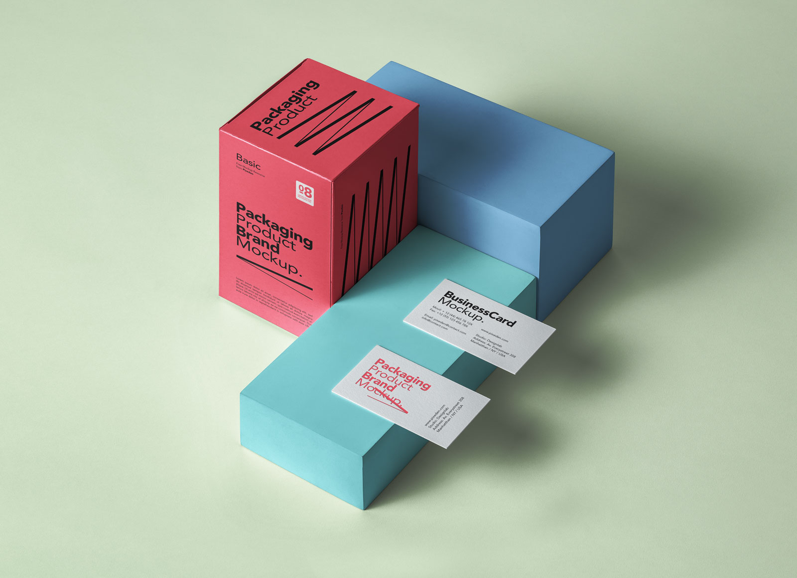 Free-Box-Product-Packaging-& Business Card Mockup PSD