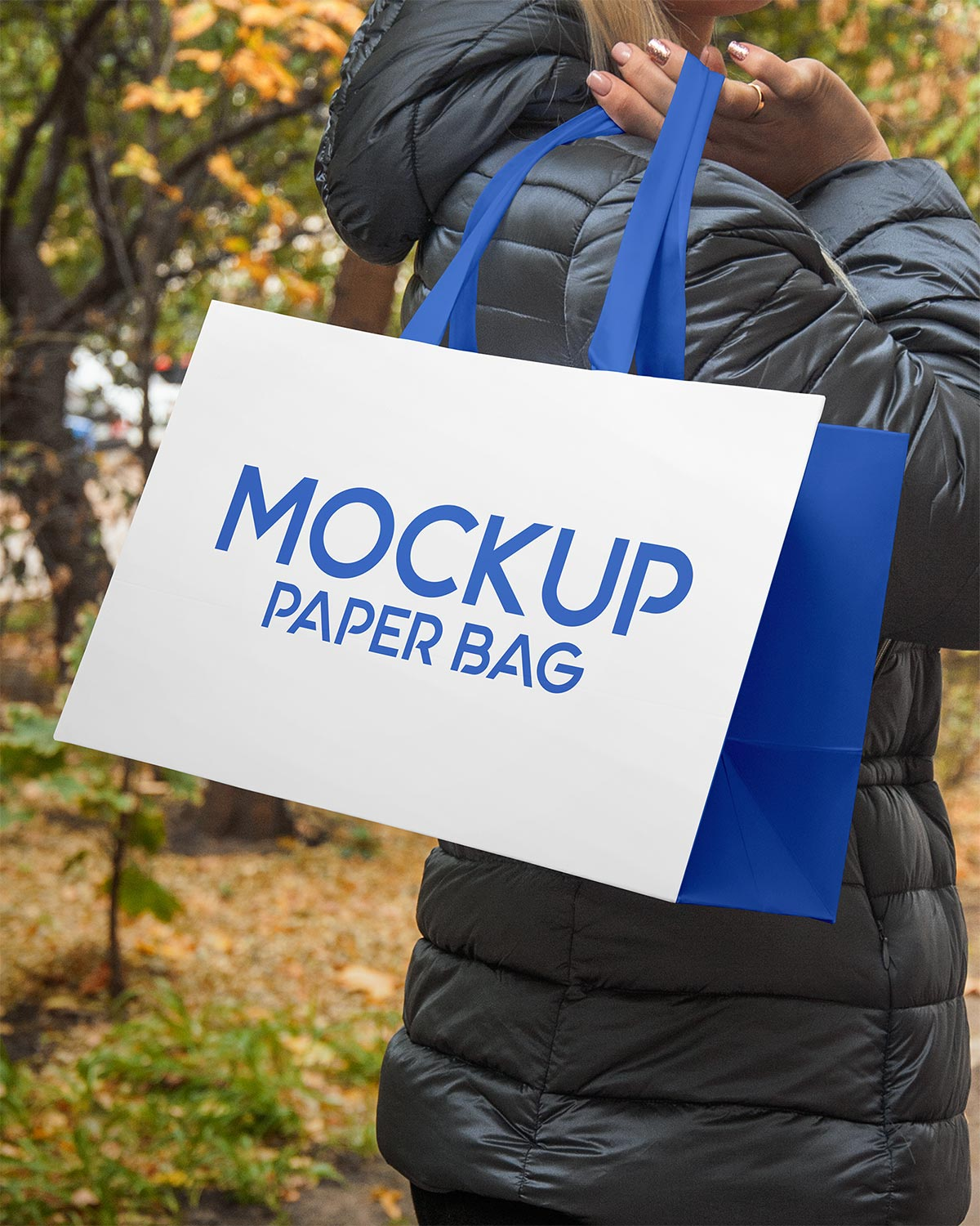 Free Hand Holding Paper Shopping Bag Mockup PSD Set