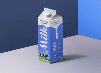 Free Milk Carton Box Packaging Mockup PSD