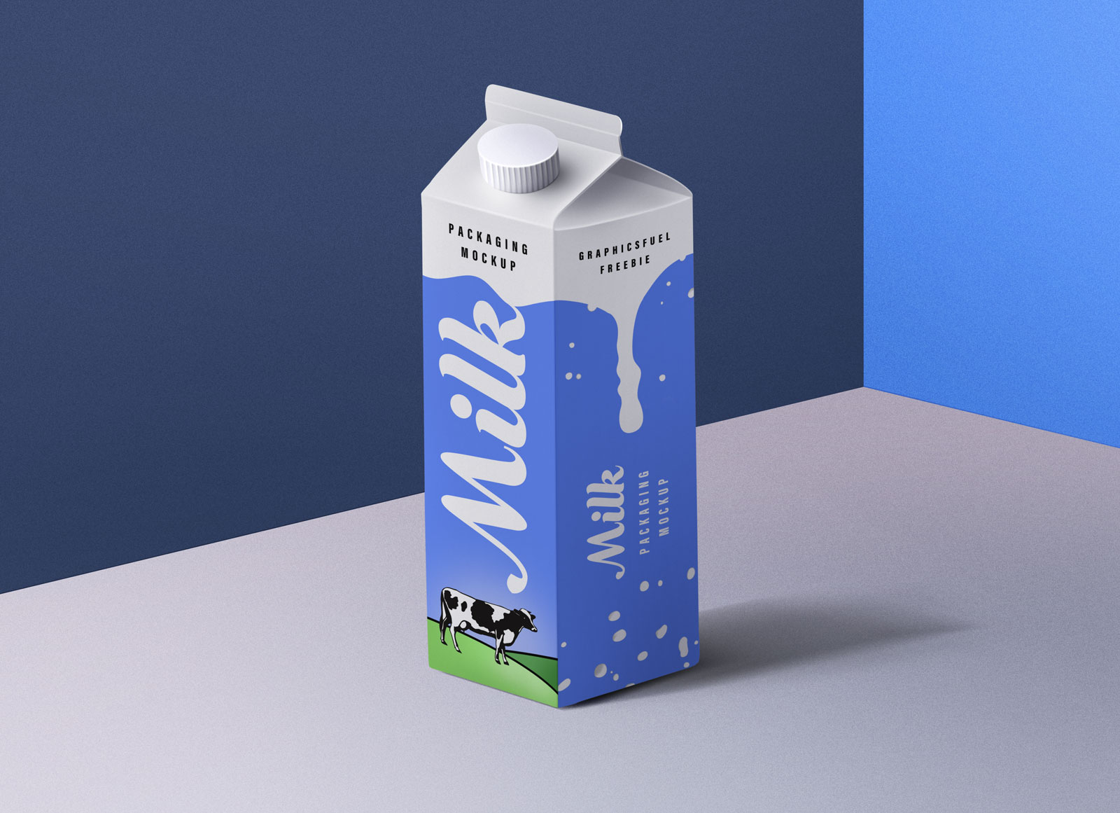 Free Milk Carton Box Packaging Mockup PSD