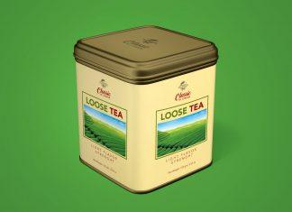 Free Tea Tin Box Metal Can Mockup PSD Set