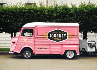 Free-Vintage-Citroen-H-Food-Van-Ice-Cream-Truck-Mockup-PSD