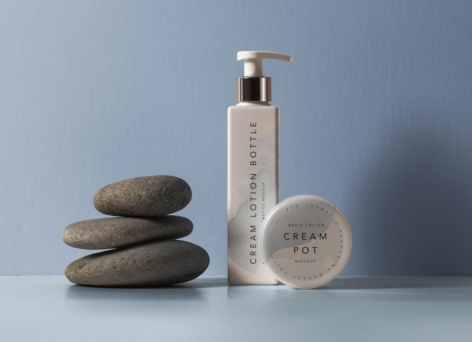 Free-Cream-Lotion-Bottle-&-Pot-Mockup-PSD
