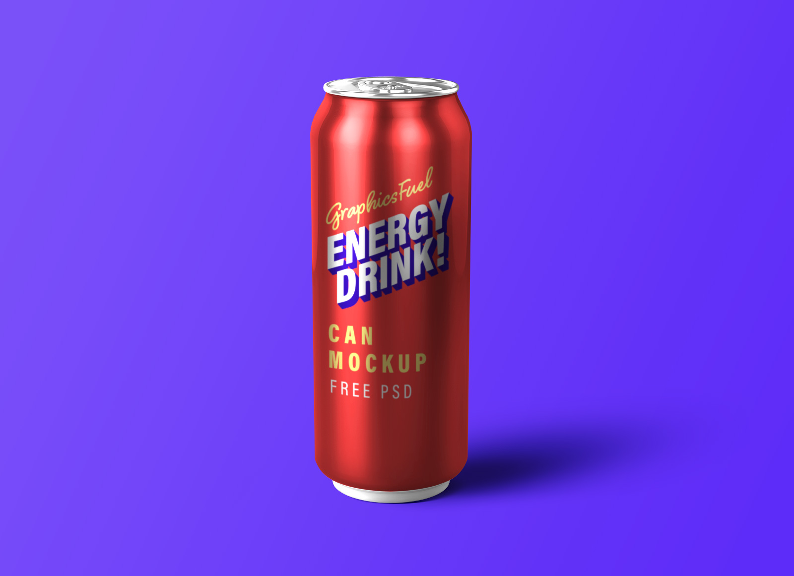 Free Energy Drink Tin Can Mockup PSD
