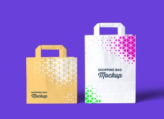 Free Fabric Reusable Grocery Shopping Bag Mockup PSD