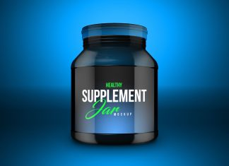 Free Food Supplement Jar Mockup PSD