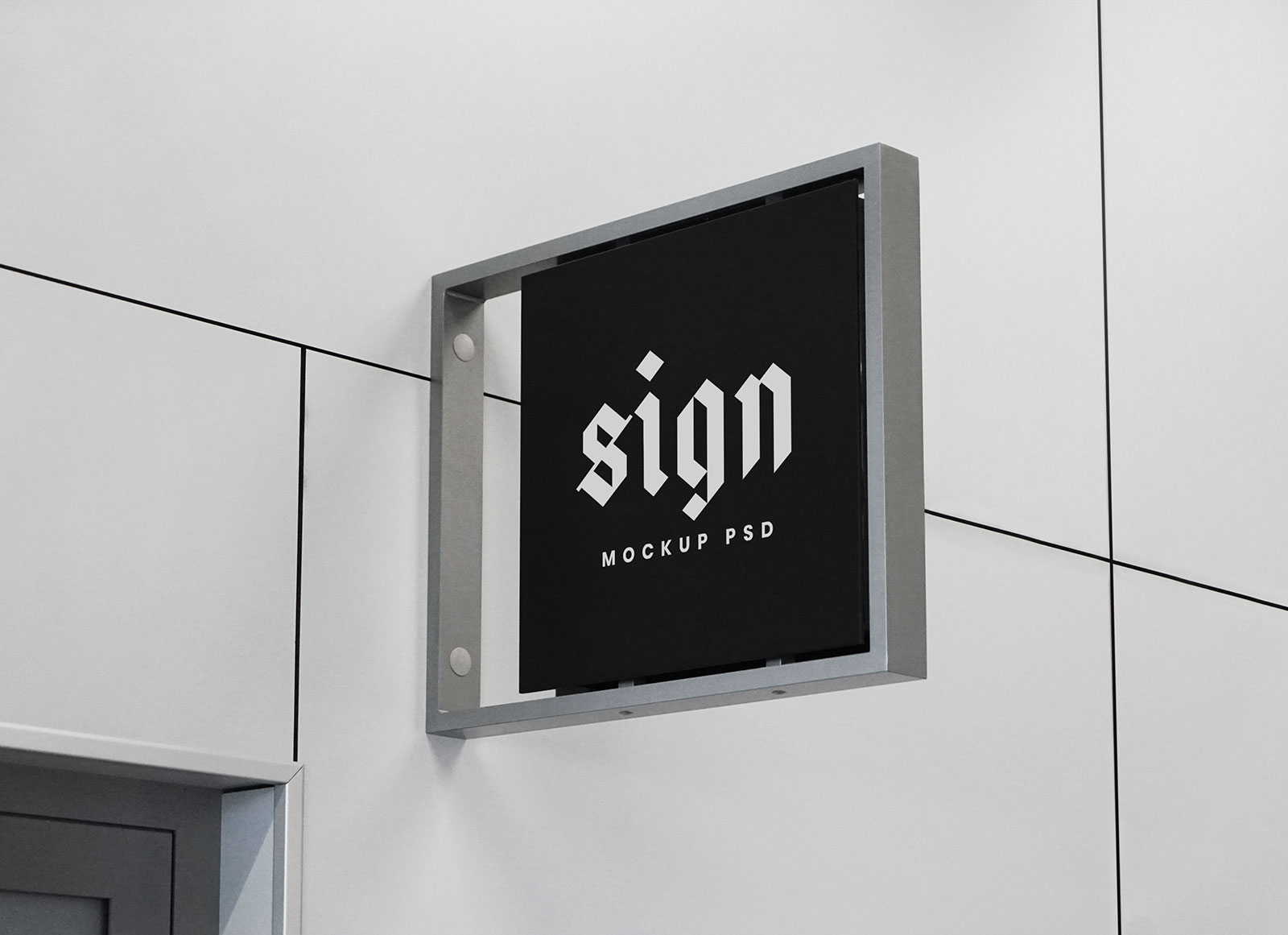 Free Indoor Wall Mounted Sign Mockup PSD
