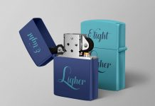 Free Metal Cigarette Lighter Mockup PSD