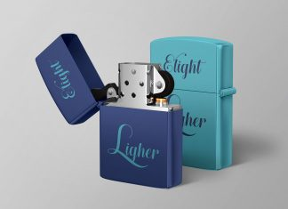 Free Metal Cigarette Lighter Mockup PSD