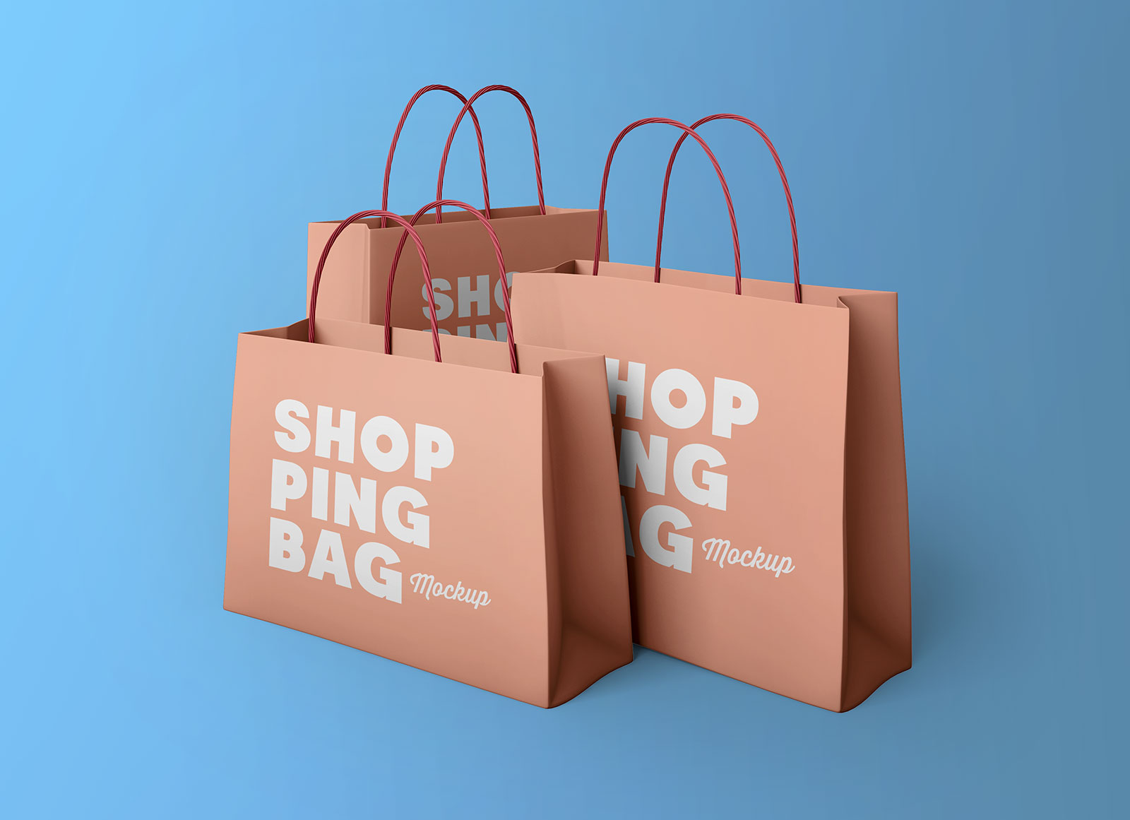 Free Multiple Shopping Bags Mockup PSD