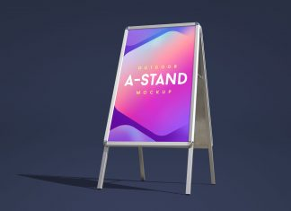 Free Outdoor Advertisement Foldable A-Stand Mockup PSD