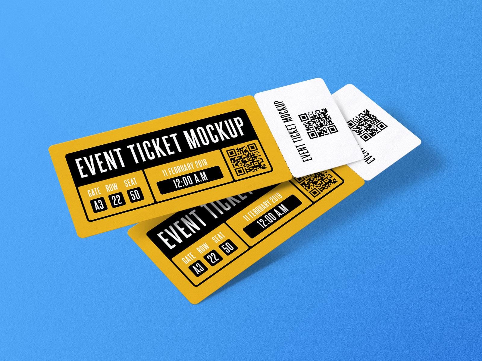 free paper concert    event ticket mockup psd set