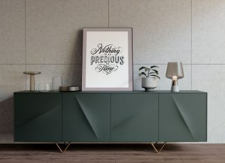 Free-Photo-Frame-on-Modern-Table-Mockup-PSD