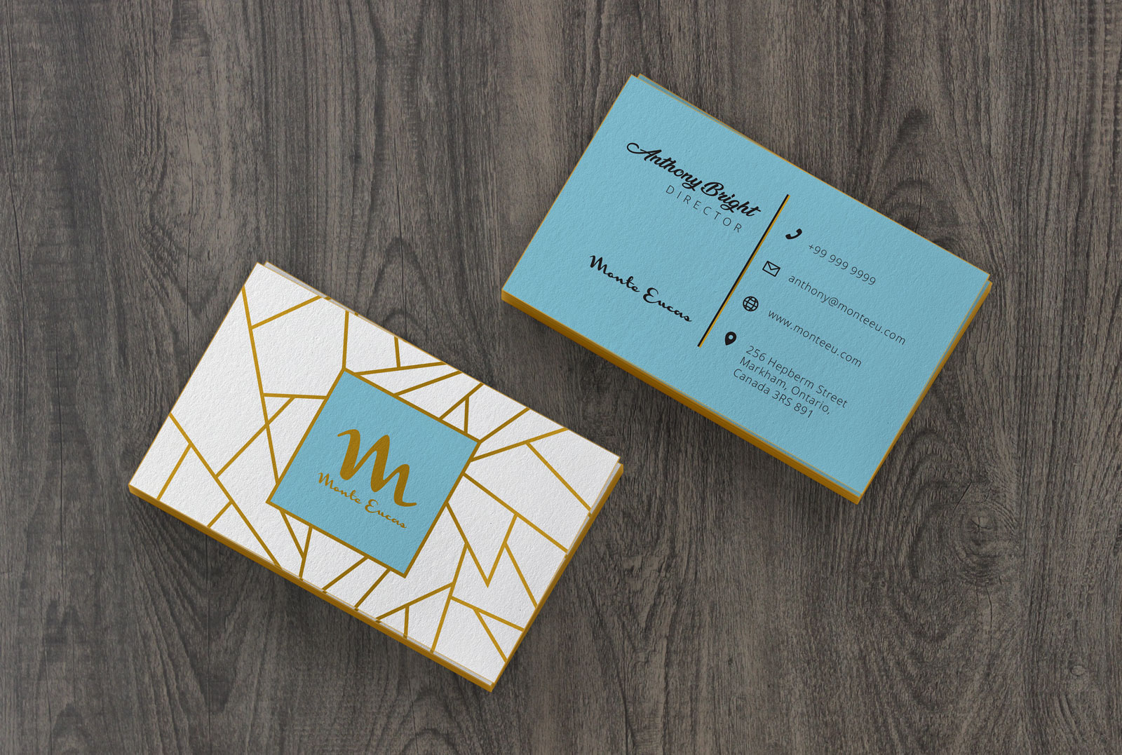 Free Colored Edge Business Card Mockup PSD