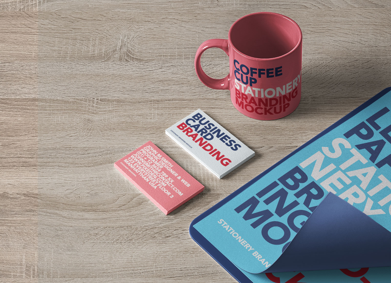 Free-Isometric-Coffee-Cup,-Business-Card-&-Paper-Curl-Mockup-PSD-2