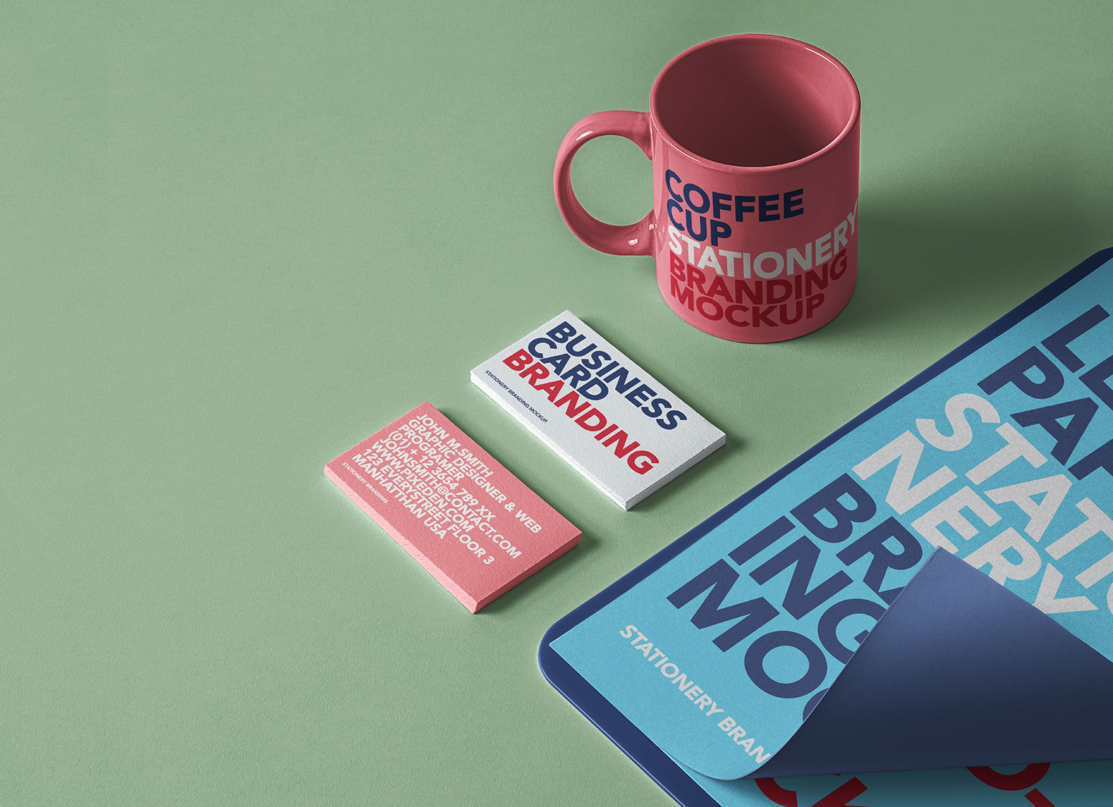 Free Business Card, Coffee Cup & Letter Paper Curl Mockup PSD