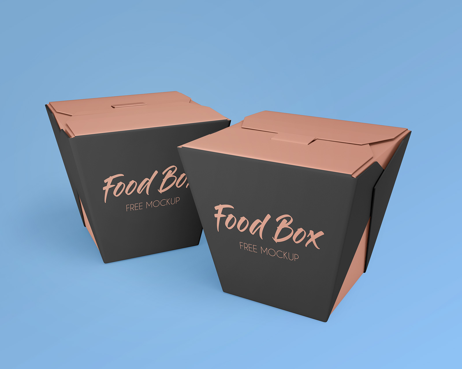 Free Noodle Food Box Packaging Mockup PSD Set