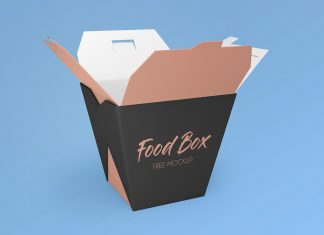 Free Noodle Food Box Packaging Mockup PSD Set