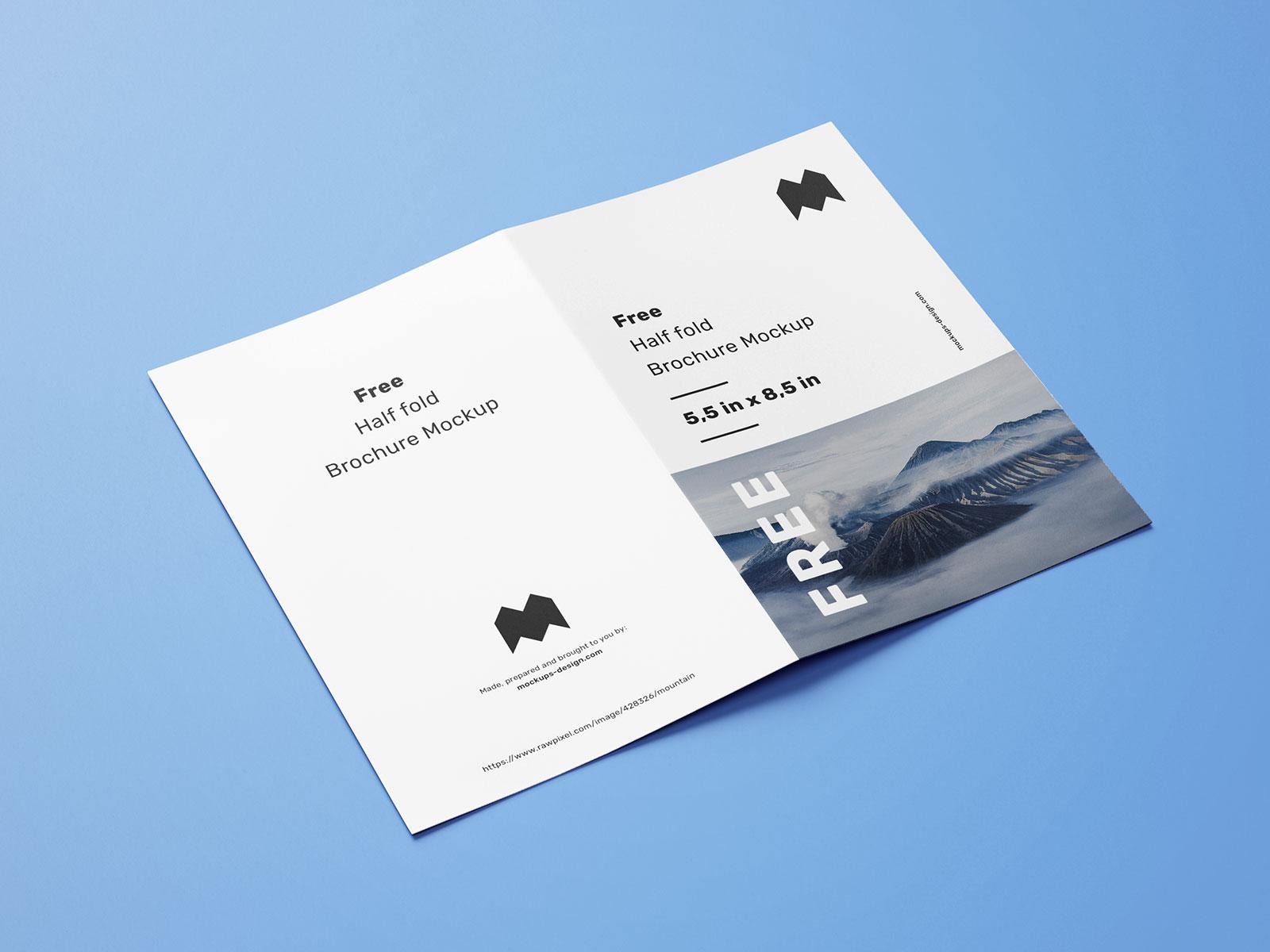 Free US Paper Half Fold Brochure Mockup PSD Set
