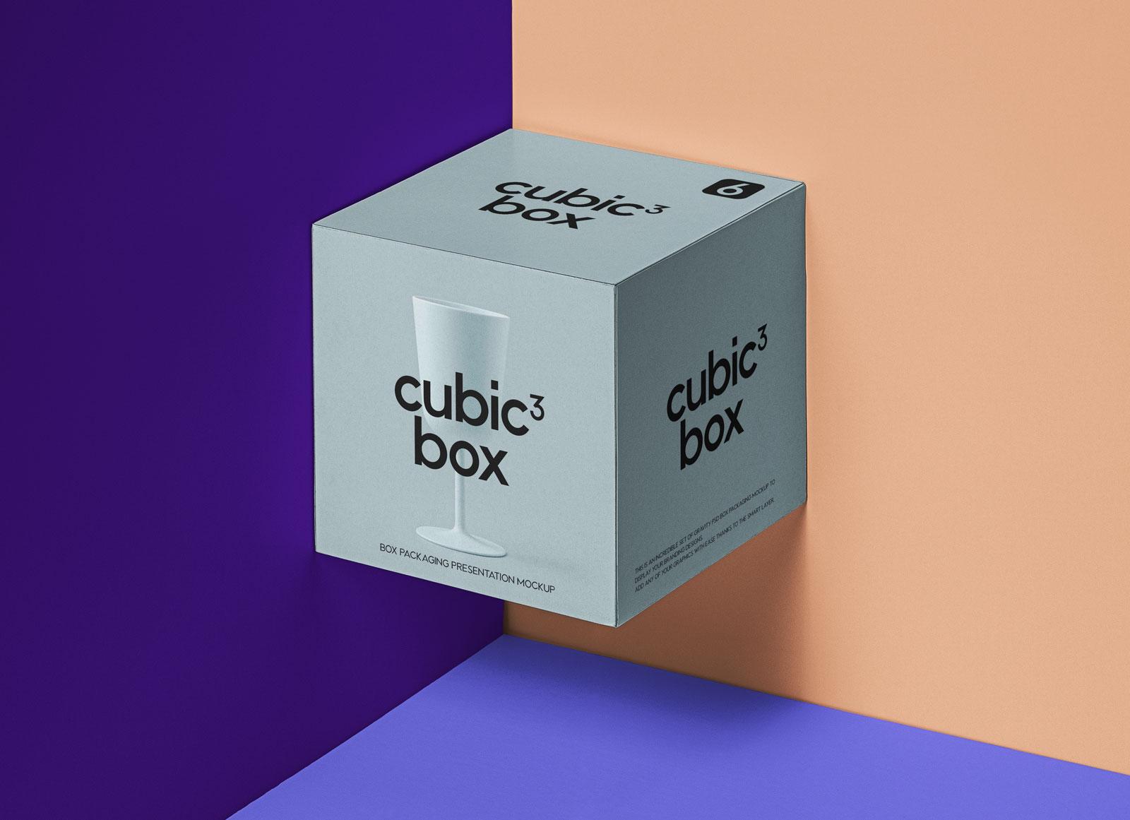 Free Cubic Box-Packaging-Presentation-Mockup PSD