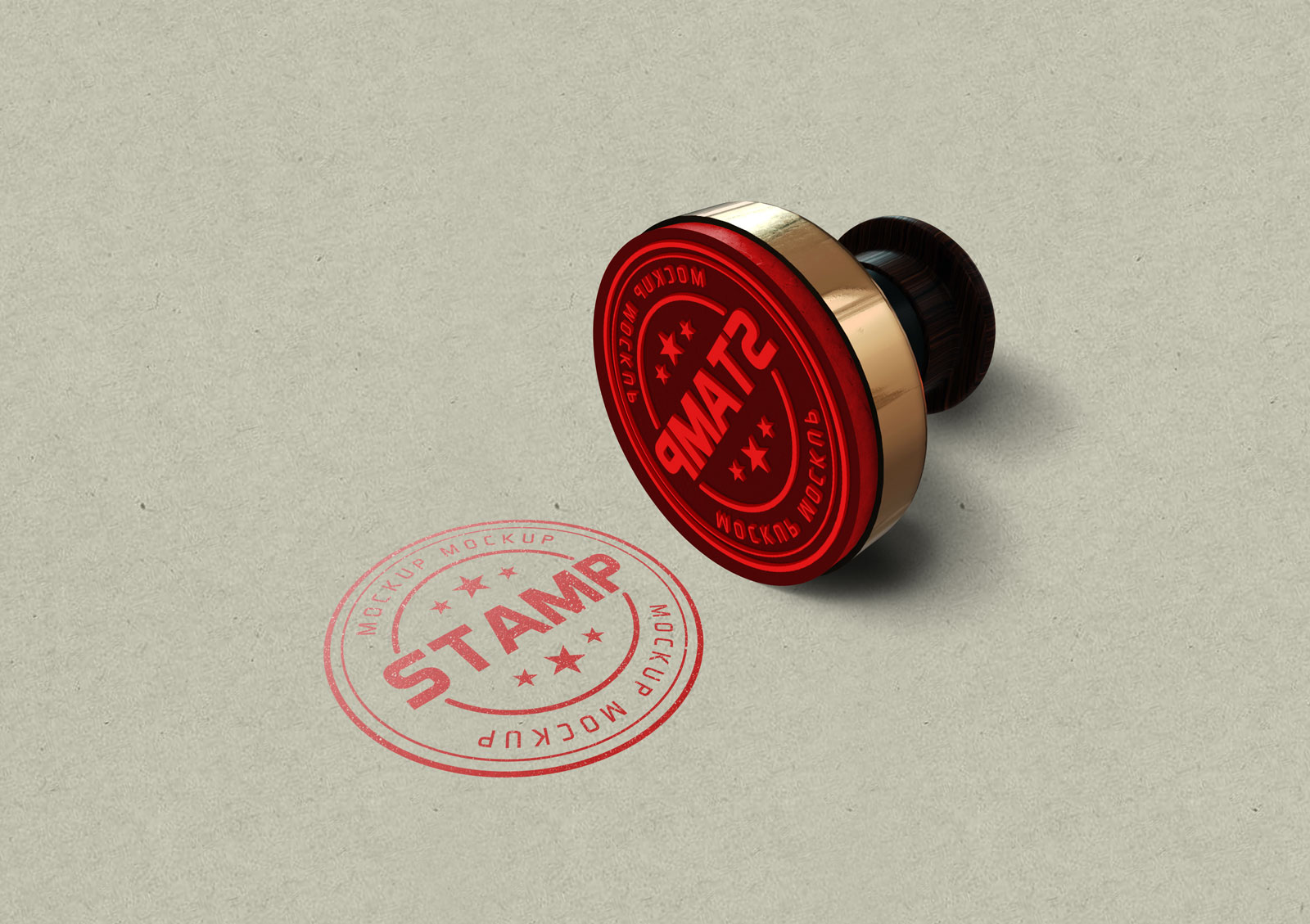 Free Round Rubber Stamp Mockup PSD
