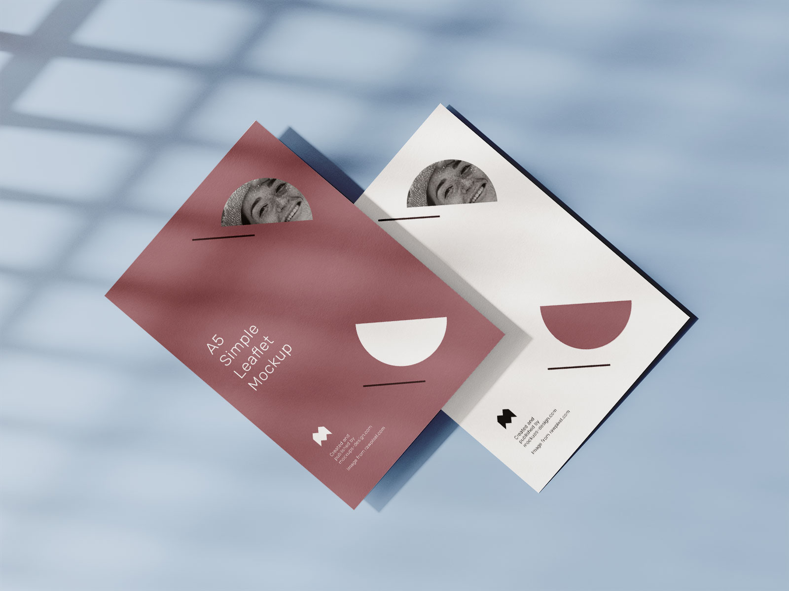 Free A5 Flyer Leaflet With Shadow Mockup PSD Set (1)