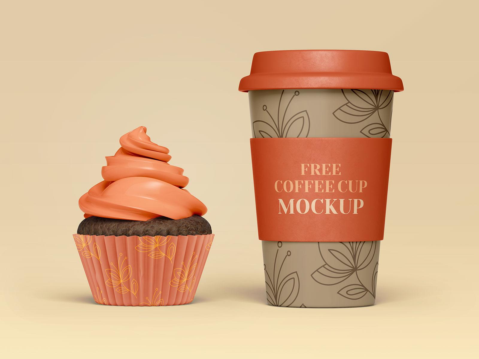 Free Coffee Cup, Cupcake & Sugar Sachet Mockup PSD Set ...