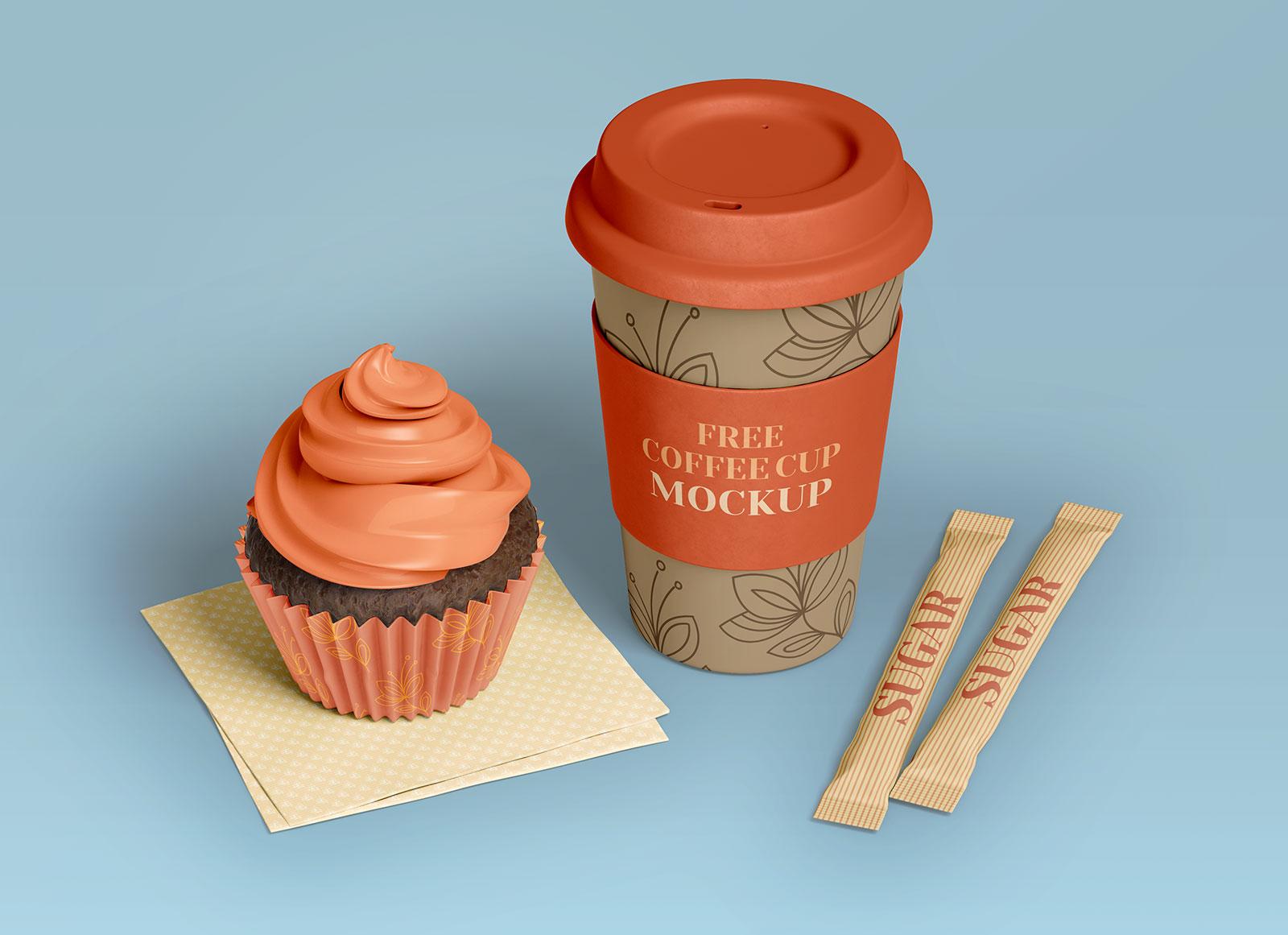 Free-Coffee-Cup,-Cupcake-&-Sugar-Sachet-Mockup-PSD-Set