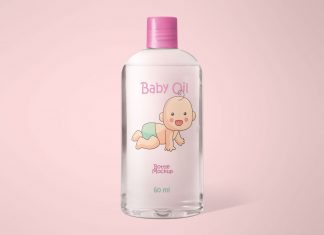 Free Cosmetics-Baby-Oil-Bottle Mockup PSD Set