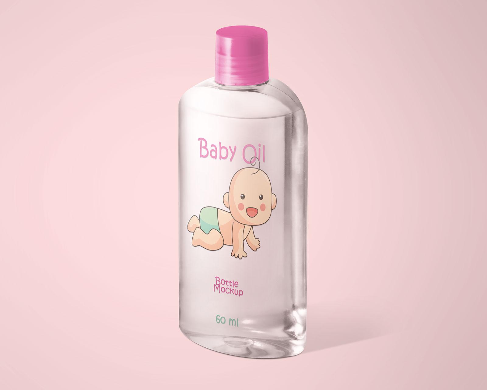 Free Cosmetics-Baby-Oil-Bottle Mockup PSD Set