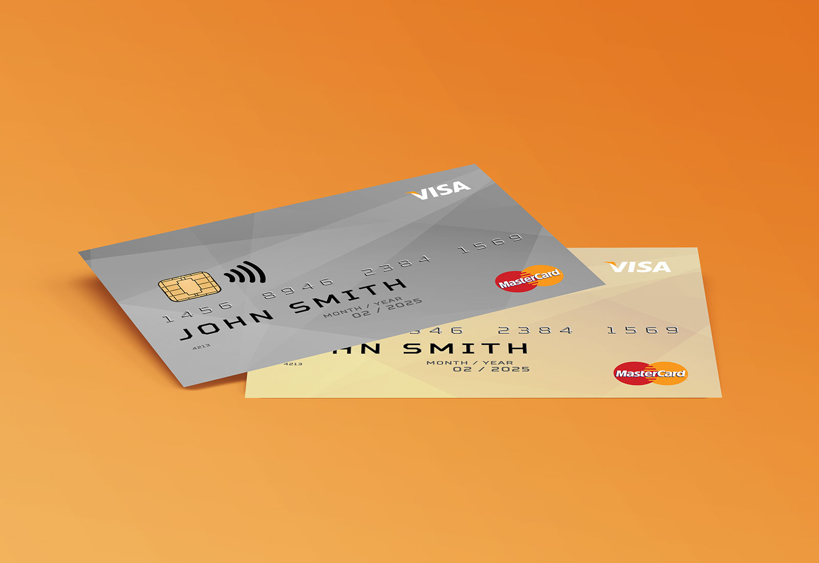 Free Credit Membership Card Mockup PSD Set (Front & Back) (1)