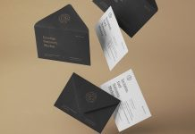 Free Falling Postcard Wedding Invitation Card Mockup PSD