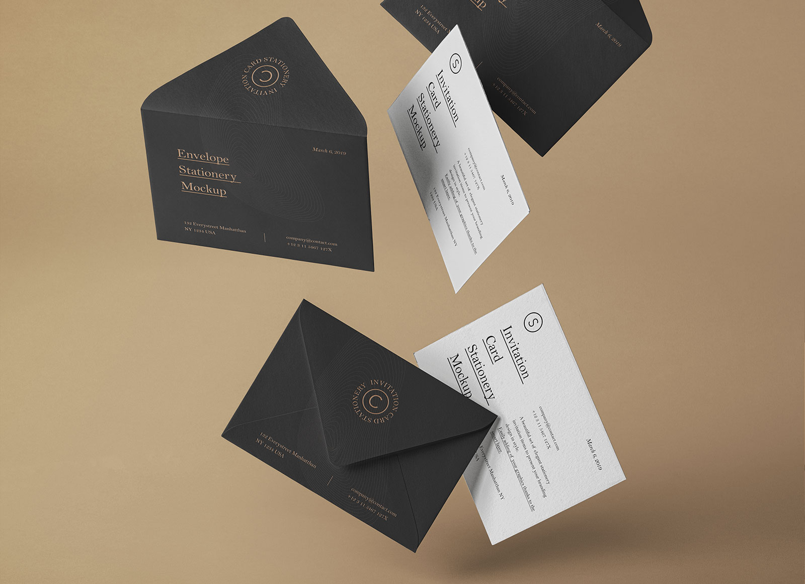 Free Falling Postcard Wedding Invitation Card Mockup Psd