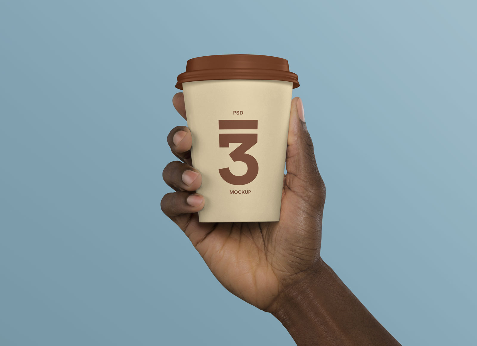 Free Hand Holding Coffee Cup Mockup PSD