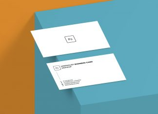 Free Minimalistic Front & Back Business Card Mockup Presentation PSD