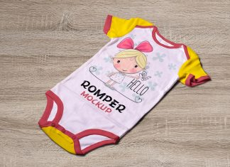 Free Newborn Onesie Baby Romper Bodysuit Mockup PSD