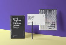 Free-Ring-Notebook,-Postal-Card-&-Silver-Metallic-Mailer-Mockup-PSD