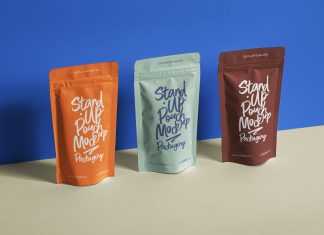 Free Stand-Up Pouch Packaging Presentation Mockup PSD