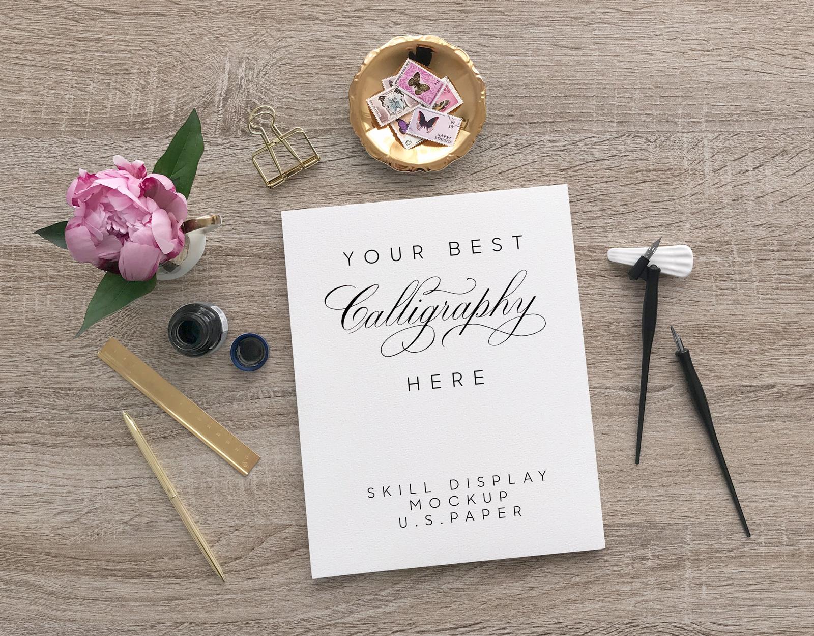 Free U.S. Paper Size Letterhead / Calligraphy Mockup PSD