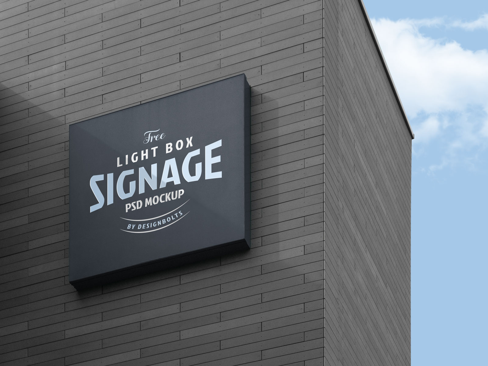 Free Wall Mounted Signage Board On Building Logo Mockup Psd Good