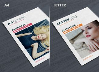 Free A4 / Letter (US) Paper Flyer Mockup PSD