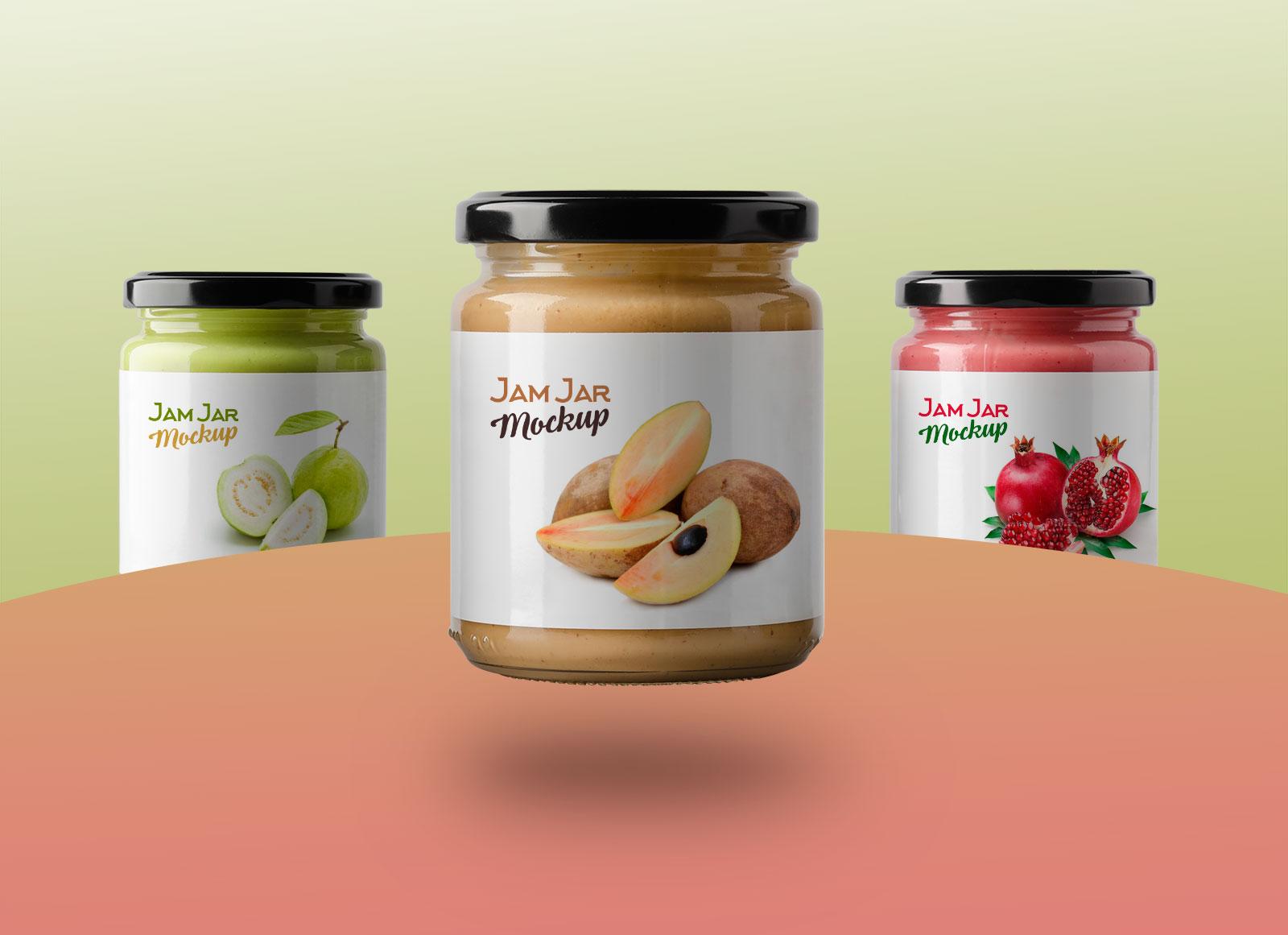 Free-3-glass-Jam-jars-Bottle-mockup-PSD