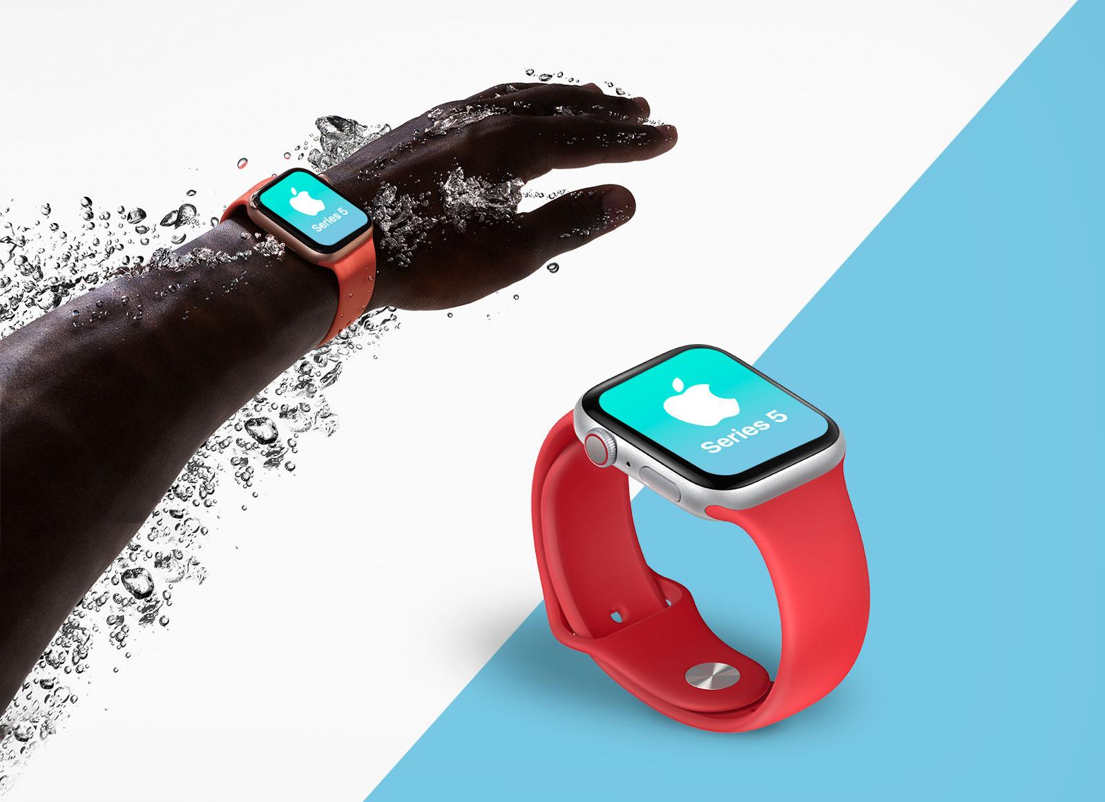 Free-Apple-Watch-Series-5-waterproof-mockup-PSD