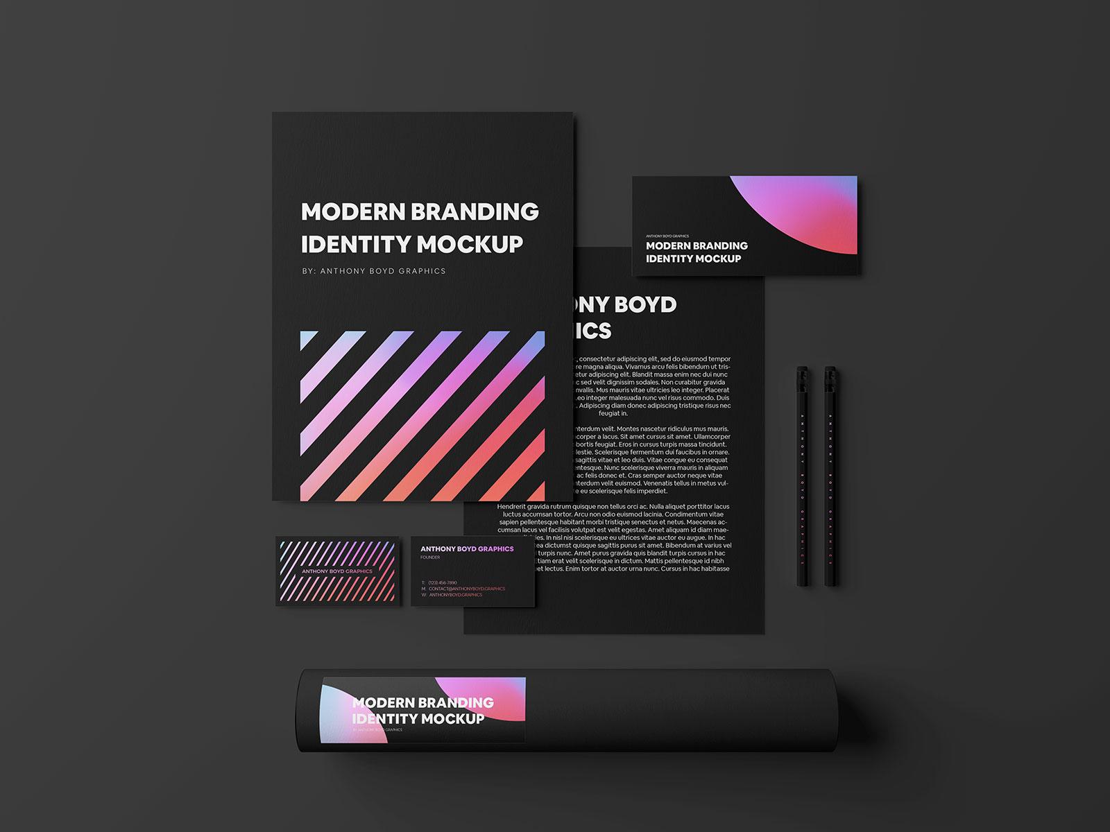 Free-Black-Stationery-Corporate-Brand-Identity-Mockup-PSD-2